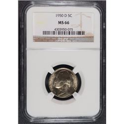 1950-D JEFFERSON NICKEL, NGC MS-66