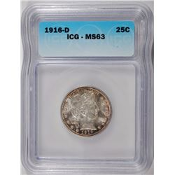 1916-D BARBER QUARTER, ICG MS-63 GORGEOUS