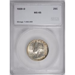 1939-D WASHINGTON QUARTER, SEGS GEM