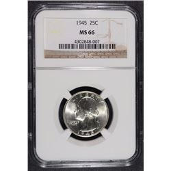 1945 WASHINGTON QUARTER NGC MS-66