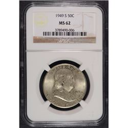 1949-S FRANKLIN HALF DOLLAR NGC MS-62