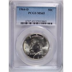 1964-D KENNEDY HALF DOLLAR PCGS MS65 GEM