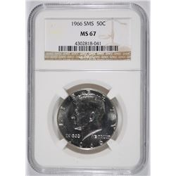 1966 SMS KENNEDY HALF DOLLAR, NGC MS-67