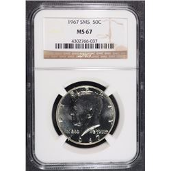 1967 SMS KENNEDY HALF DOLLAR NGC MS-67