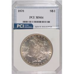 1878 MORGAN SILVER DOLLAR, PCI GEM BU