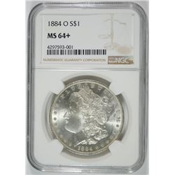 1884-O MORGAN SILVER DOLLAR, NGC MS-64+