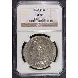 1892-S MORGAN SILVER DOLLAR, NGC XF-40  SEMI-KEY
