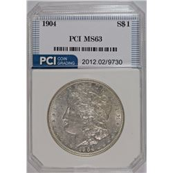 1904 MORGAN SILVER DOLLAR, PCI CHOICE BU  BLAST WHITE