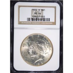 1922-S PEACE DOLLAR NGC MS-64