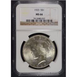 1923 PEACE SILVER DOLLAR, NGC MS-66 TOUGH!