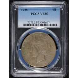 1928 PEACE DOLLAR PCGS VF-35