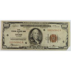 1929 FEDERAL RESERVE BANK OF CHICAGO $100  TORN CORNER