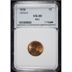 1909 LINCOLN CENT, NNC GRADED SUPERB GEM BU RED