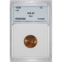 1909 VDB LINCOLN CENT, NNC GRADED SUPERB GEM BU RED
