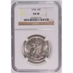 1934 WALKING LIBERTY HALF DOLLAR NGC AU58