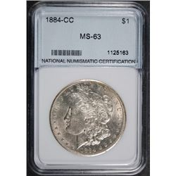 1884-CC MORGAN SILVER DOLLAR NNC GRADED GEM BU+