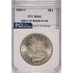 1886-O MORGAN SILVER DOLLAR, PCI CHOICE BU