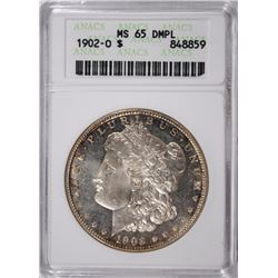 1902-O MORGAN SILVER DOLLAR, ANACS MS-65 DMPL RARE! WHITE! NICE!  VERY FEW EXIST