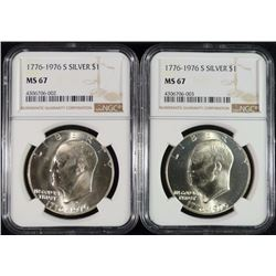 ( 2 ) 1976-S SILVER EISENHOWER DOLLAR, NGC MS-67 GEMS