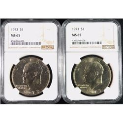 ( 2 ) 1973 EISENHOWER DOLLARS, NGC MS-65 GEMS