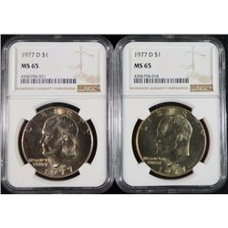 ( 2 ) 1977-D EISENHOWER DOLLARS, NGC MS-65 GEMS