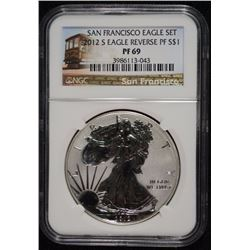 2012-S REVERSE PROOF AMERICAN SILVER EAGLE, NGC PF-69
