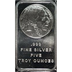 FIVE OUNCE .999 SILVER BAR INDIAN/BUFFALO DESIGN