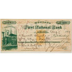 Original Exchange/Check, First National Bank, Helena, RN-B with Teller, Coin, Ingot Vignette