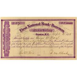 First National Bank of Bozeman Stock Certificate