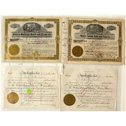 Four Montana Bank Stock Certificates