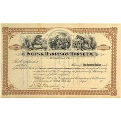 Potts & Harrison Horse Company Stock Certificate signed by the son of President Benjamin Harrison