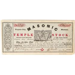 1867 Rare Virginia City Masonic Temple Stock Certificate