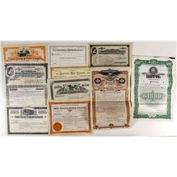 Nine Various Montana Stock Certificates & Bonds