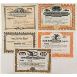 Basin Tunnel & Mining Stock Certificates