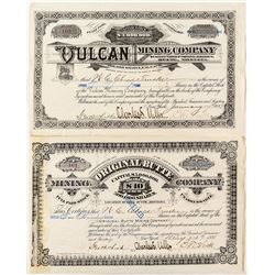 Pair of Butte Mining Stock Certificates issued Between Family Members