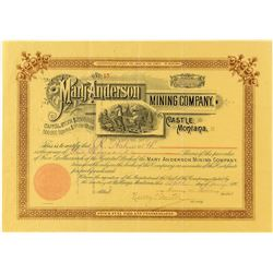 Mary Anderson Mining Company Stock Certificate