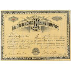 The Golden Gate Mining Company of Montana Stock Certificate