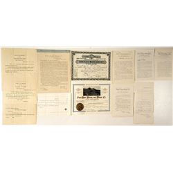 Pen Placer Mining Company Stock Certificates, Mine Report & Shareholder Documents