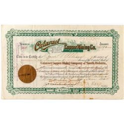 Cataract Copper Mining Co. Stock Certificate w/ Mine Cross-Section and Map on Reverse