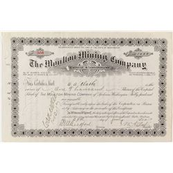 "The Moulton Mining Company Stock Certificate issued to and signed by W.A. Clark, Montana ""Copper Kin"