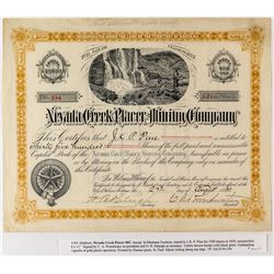 Nevada Creek Placer Mining Company Stock Certificate