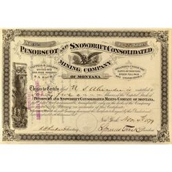 Penobscot & Snowdrift Consolidated Mining Co. of Montana Stock Certificate