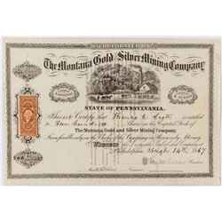 Montana Gold & Silver Mining Company Stock Certificate issued to Important Eastern Railroad Figure