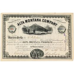 Alta Montana Company Stock Certificate (Ghost Town)