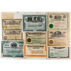 Eight Montana Copper Mining Stock Certificates