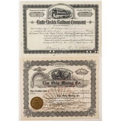 "Railroad & Mining Stock Certificate Pair signed by ""Copper King"" W.A. Clark"