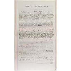 "Property Deed Signed by Marcus Daly, Montana ""Copper King"""