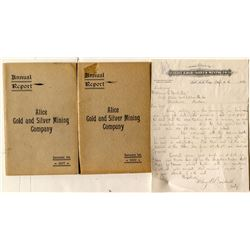 Alice Gold & Silver Mining Co. Reports and Letterhead