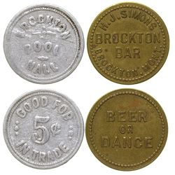 Brockton Pool Hall and Dance Hall Tokens (Brockton, Montana)