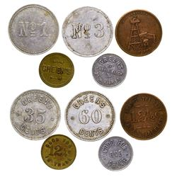 Set of Five Green's Tokens (Butte, Montana)